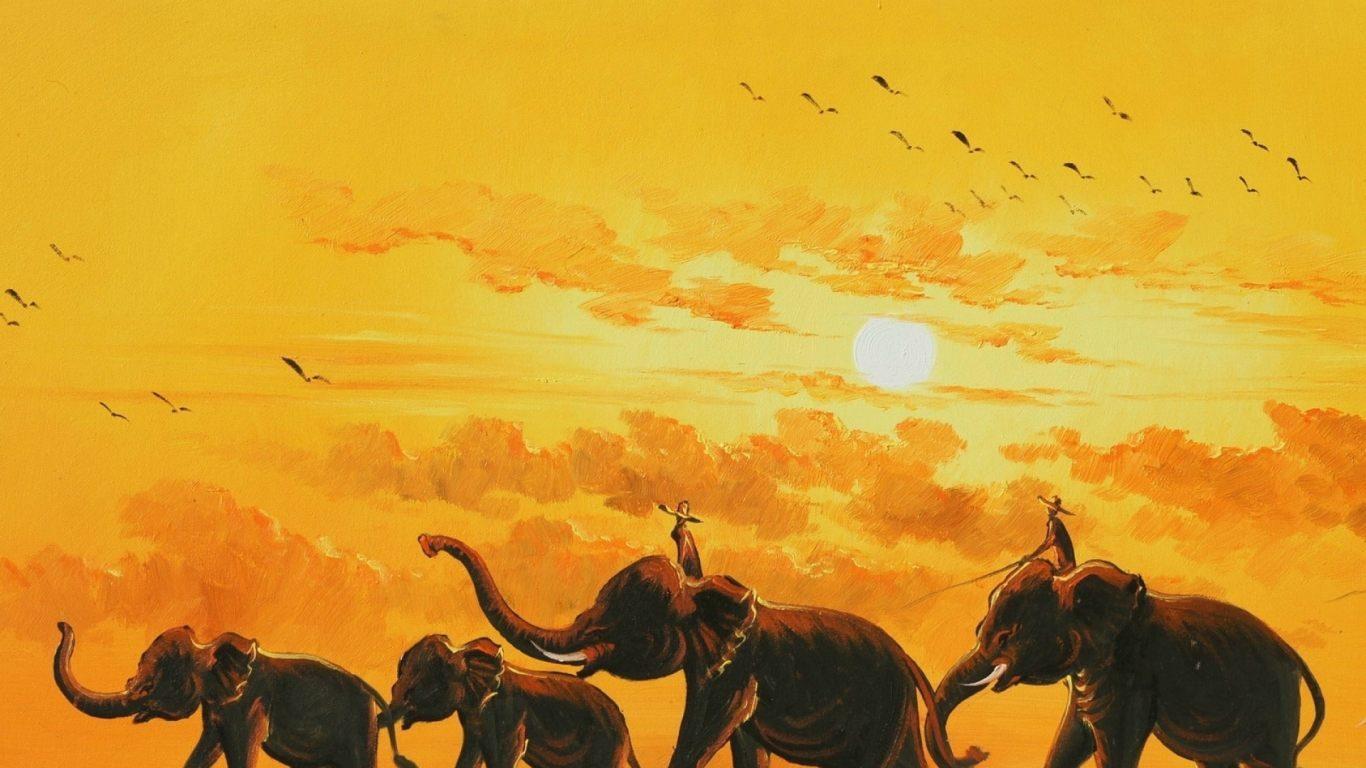 Dibujo de elefantes 1366x768 fondos de pantalla y for Fotos para fondo escritorio