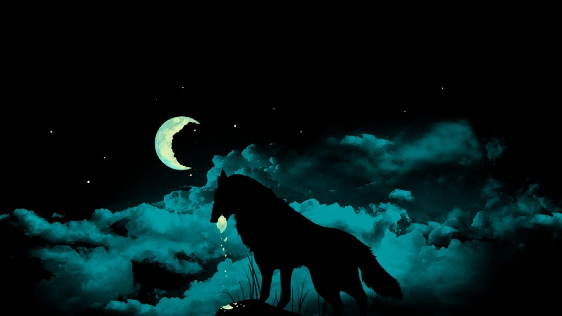 Lobo En La Noche 1920x1080 Fondos De Pantalla Y